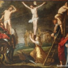 Arte: ESCENA DE LA CRUCIFIXIÓN DE JESUCRISTO. ÓLEO SOBRE COBRE. MED 68 X 53 CM. ESC. FLAMENCA. S. XVII.. Lote 161175626
