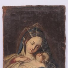 Arte: PRECIOSA VIRGEN CON EL NIÑO JESUS. OLEO S/ LIENZO. SIGLO XVII. Lote 161194982