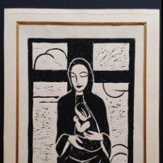Arte: FRIEDEL HERCHER, XILOGRAFÍA MADONNA CON NIÑO, 1918. Lote 161229094