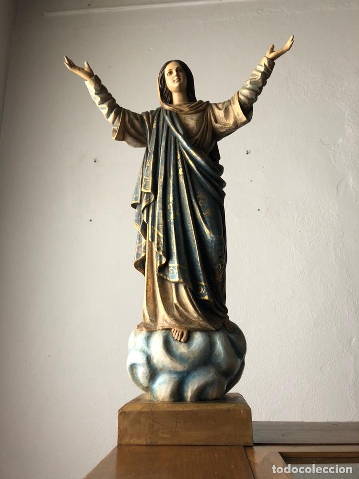 Arte: Virgen milagrosa talla madera policromada - Foto 6 - 161255265