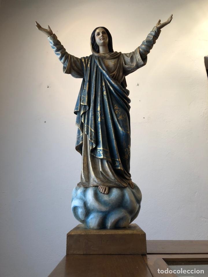 Arte: Virgen milagrosa talla madera policromada - Foto 7 - 161255265