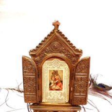 Arte: ANTIGUO ALTAR BRONCE, RELICARIO VIRGEN CON NIÑO, ESTAMPA FRANCESA XIX, ALTAR VIRGEN XIX. Lote 161279182