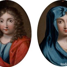 Arte: VIRGEN Y SAN JUAN. IMPORTANTE PAREJA DE COBRES OVALADOS. SIGLO XVIII.. Lote 161307706
