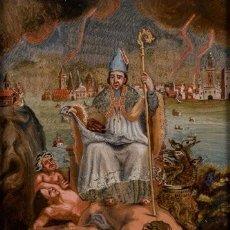 Arte: SANTO OBISPO. SAN GERMÁN DE PARÍS. ÓLEO SOBRE CRISTAL. SIGLO XVIII.. Lote 161308118