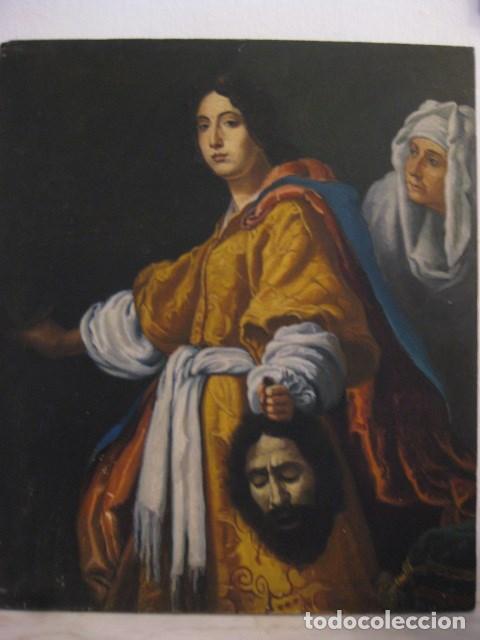 OLEO TABLA JUDITH CON LA CABEZA DE HOLOFERNES DE CRISTOFANO ALLORI MAGISTRAL RÉPLICA S.XX 45 X 38 CM (Arte - Arte Religioso - Pintura Religiosa - Oleo)