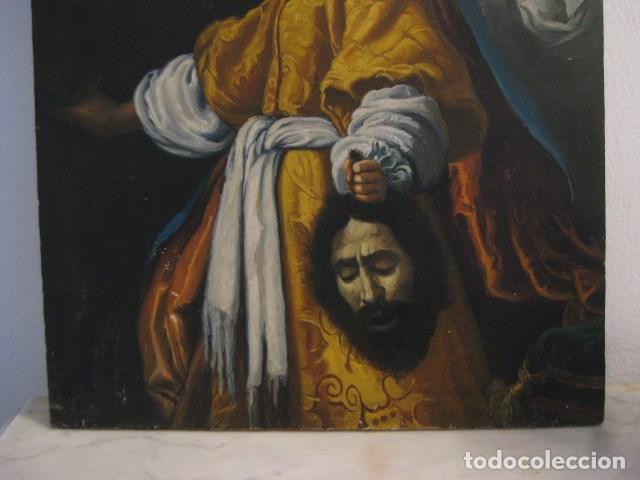 Arte: OLEO TABLA JUDITH CON LA CABEZA DE HOLOFERNES DE CRISTOFANO ALLORI MAGISTRAL RÉPLICA S.XX 45 X 38 CM - Foto 3 - 161347258