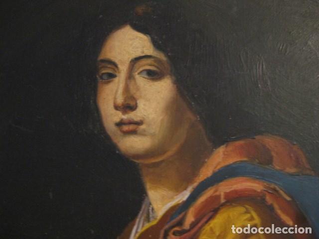 Arte: OLEO TABLA JUDITH CON LA CABEZA DE HOLOFERNES DE CRISTOFANO ALLORI MAGISTRAL RÉPLICA S.XX 45 X 38 CM - Foto 4 - 161347258