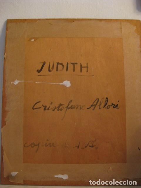 Arte: OLEO TABLA JUDITH CON LA CABEZA DE HOLOFERNES DE CRISTOFANO ALLORI MAGISTRAL RÉPLICA S.XX 45 X 38 CM - Foto 12 - 161347258