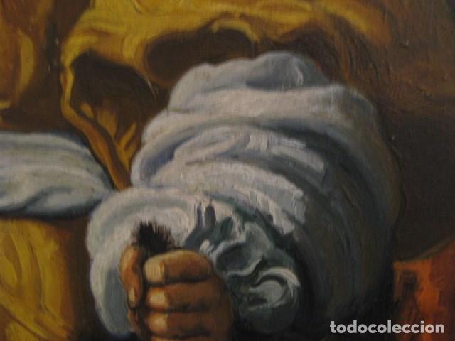 Arte: OLEO TABLA JUDITH CON LA CABEZA DE HOLOFERNES DE CRISTOFANO ALLORI MAGISTRAL RÉPLICA S.XX 45 X 38 CM - Foto 13 - 161347258