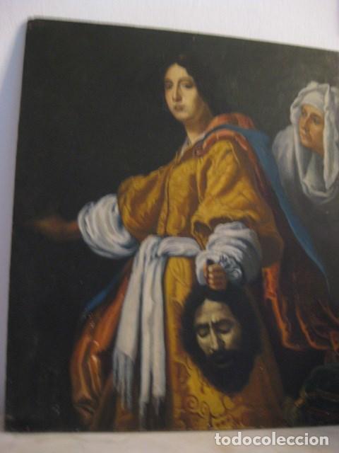 Arte: OLEO TABLA JUDITH CON LA CABEZA DE HOLOFERNES DE CRISTOFANO ALLORI MAGISTRAL RÉPLICA S.XX 45 X 38 CM - Foto 15 - 161347258