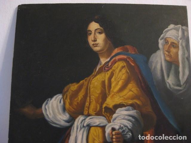 Arte: OLEO TABLA JUDITH CON LA CABEZA DE HOLOFERNES DE CRISTOFANO ALLORI MAGISTRAL RÉPLICA S.XX 45 X 38 CM - Foto 16 - 161347258