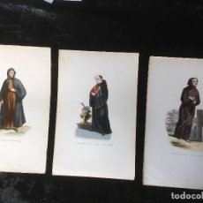 Arte: 3 GRABADOS COLOR - MONGE MARONITA - BENEDICTINO INGLES EN EL CORO - SAN FRANCISCO DE ASIS - TRAJES. Lote 161469646