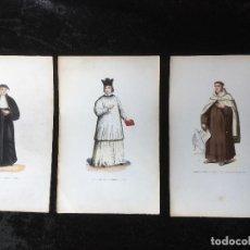 Arte: 3 GRABADOS ILUMINADOS TRAJES - AGUSTINA DE FLANDES - CANONIGO DE LATRAN - CARMELITA DESCALZA. Lote 161470330