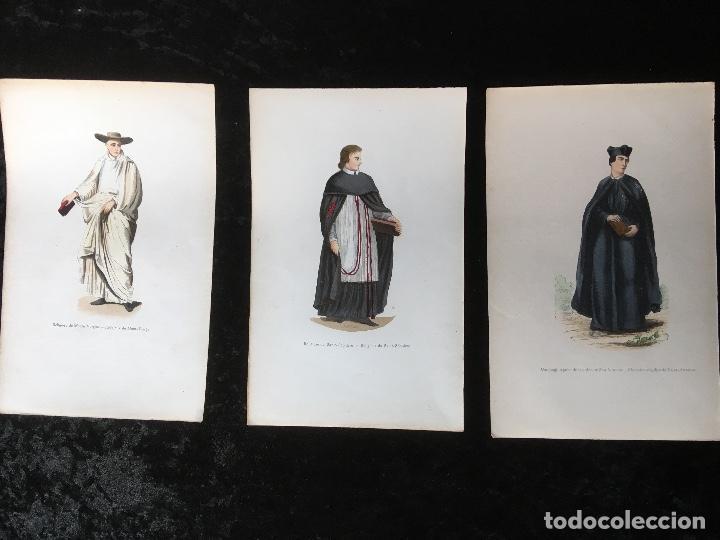 1851 - 3 GRABADOS ILUMINADOS - TRAJES RELIGIOSOS - SANTO SEPULCRO - CANONIGO -... (Arte - Arte Religioso - Grabados)