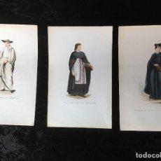 Arte: 1851 - 3 GRABADOS ILUMINADOS - TRAJES RELIGIOSOS - SANTO SEPULCRO - CANONIGO -.... Lote 161471810
