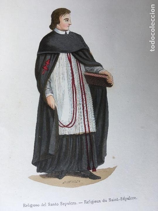 Arte: 1851 - 3 GRABADOS ILUMINADOS - TRAJES RELIGIOSOS - SANTO SEPULCRO - CANONIGO -... - Foto 2 - 161471810