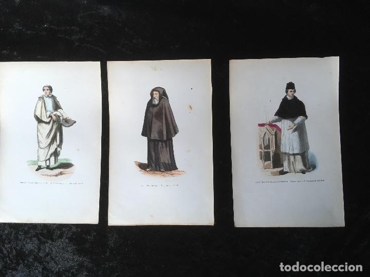 1851 - 3 GRABADOS ILUMINADOS - CANONIGO PREMONSTRATENSE - CAPUCHINO CON CAPA - CANONIGO WINDESHEIM - (Arte - Arte Religioso - Grabados)