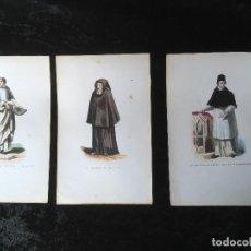 Arte: 1851 - 3 GRABADOS ILUMINADOS - CANONIGO PREMONSTRATENSE - CAPUCHINO CON CAPA - CANONIGO WINDESHEIM -. Lote 161476722