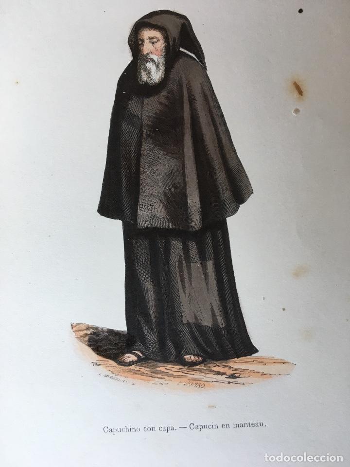 Arte: 1851 - 3 GRABADOS ILUMINADOS - CANONIGO PREMONSTRATENSE - CAPUCHINO CON CAPA - CANONIGO WINDESHEIM - - Foto 2 - 161476722