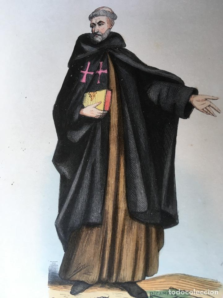 Arte: 1851 - 3 GRABADOS ILUMINADOS - CANONIGO PREMONSTRATENSE - CAPUCHINO CON CAPA - CANONIGO WINDESHEIM - - Foto 2 - 161477314