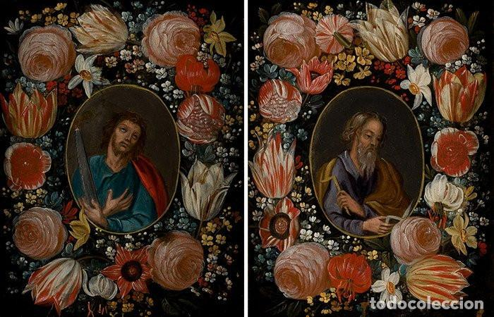 SAN SIMÓN Y SAN JUDAS. PAREJA DE SANTOS EN ORLAS DE FLORES. ÓLEO SOBRE COBRE. S. XVII. (Arte - Arte Religioso - Pintura Religiosa - Oleo)