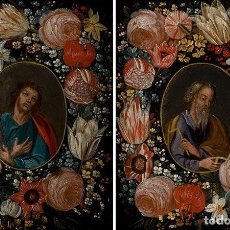 Arte: SAN SIMÓN Y SAN JUDAS. PAREJA DE SANTOS EN ORLAS DE FLORES. ÓLEO SOBRE COBRE. S. XVII.. Lote 161482058