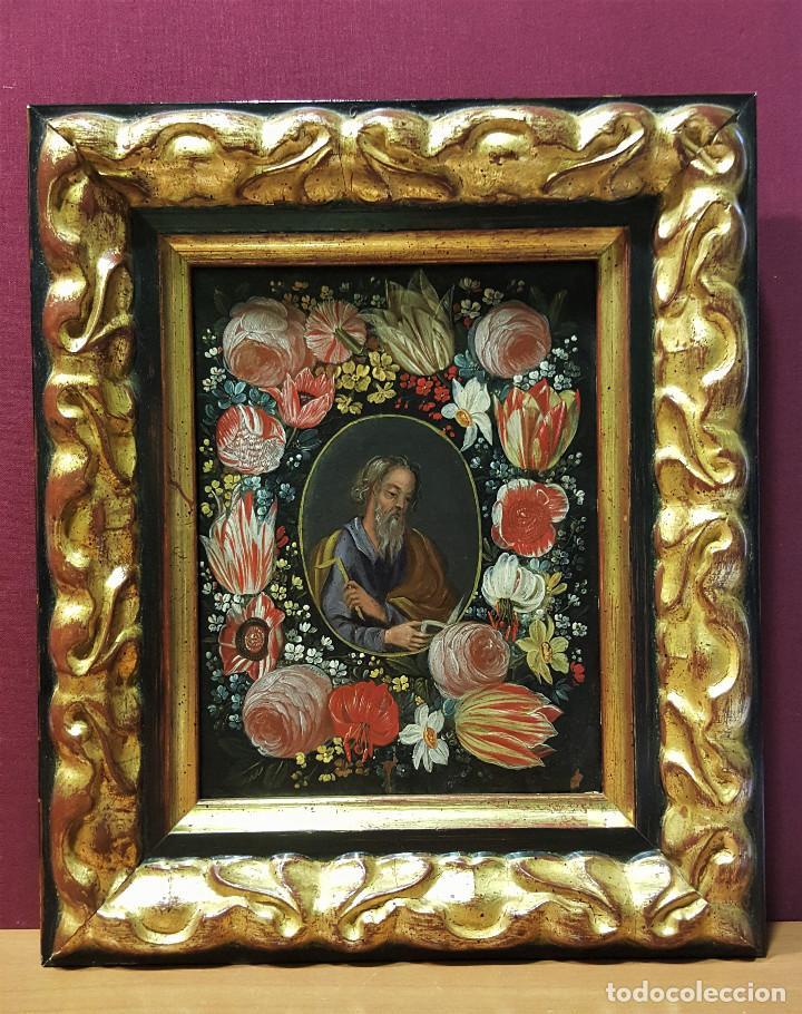 Arte: San Simón y San Judas. Pareja de santos en orlas de flores. Óleo sobre cobre. S. XVII. - Foto 2 - 161482058