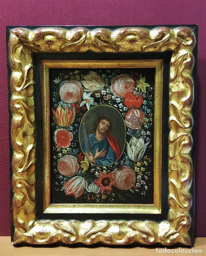 Arte: San Simón y San Judas. Pareja de santos en orlas de flores. Óleo sobre cobre. S. XVII. - Foto 4 - 161482058