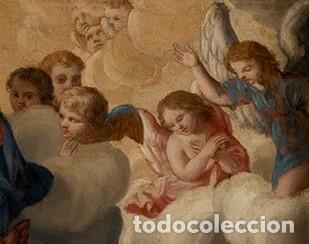 Arte: La visión de San Antonio. Óleo sobre cobre. Siglo XVIII. - Foto 3 - 161482558