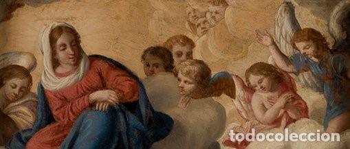Arte: La visión de San Antonio. Óleo sobre cobre. Siglo XVIII. - Foto 4 - 161482558