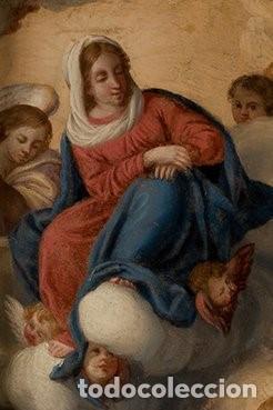 Arte: La visión de San Antonio. Óleo sobre cobre. Siglo XVIII. - Foto 5 - 161482558