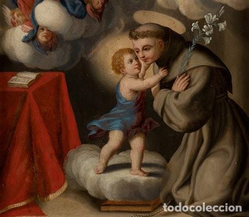 Arte: La visión de San Antonio. Óleo sobre cobre. Siglo XVIII. - Foto 7 - 161482558