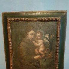 Arte: ANTIGUO CUADRO SOBRE LIENZO DE SAN ANTONIO CON NIÑO S.XVIII-XIX. Lote 161524949