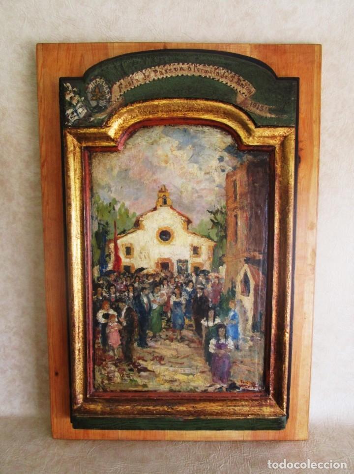 Arte: antiguo retablo con oleo de ferre i andreu año 2005 altafulla ermita sant antoni - Foto 2 - 35171291