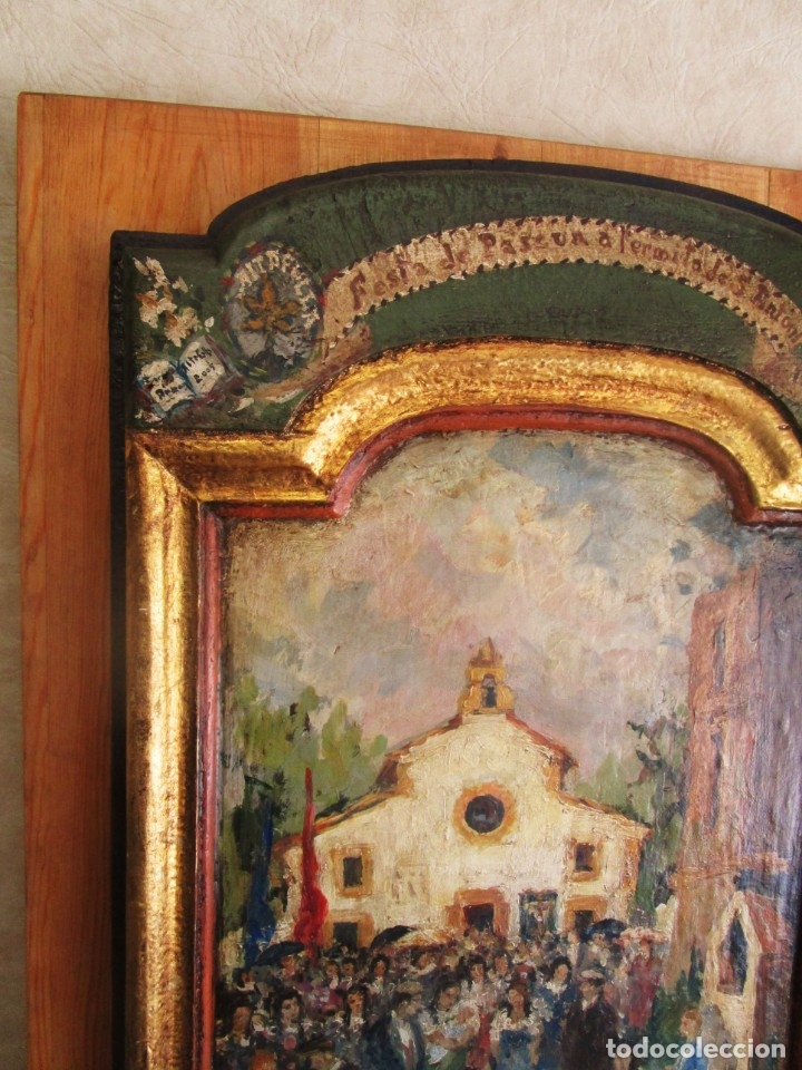 Arte: antiguo retablo con oleo de ferre i andreu año 2005 altafulla ermita sant antoni - Foto 3 - 35171291