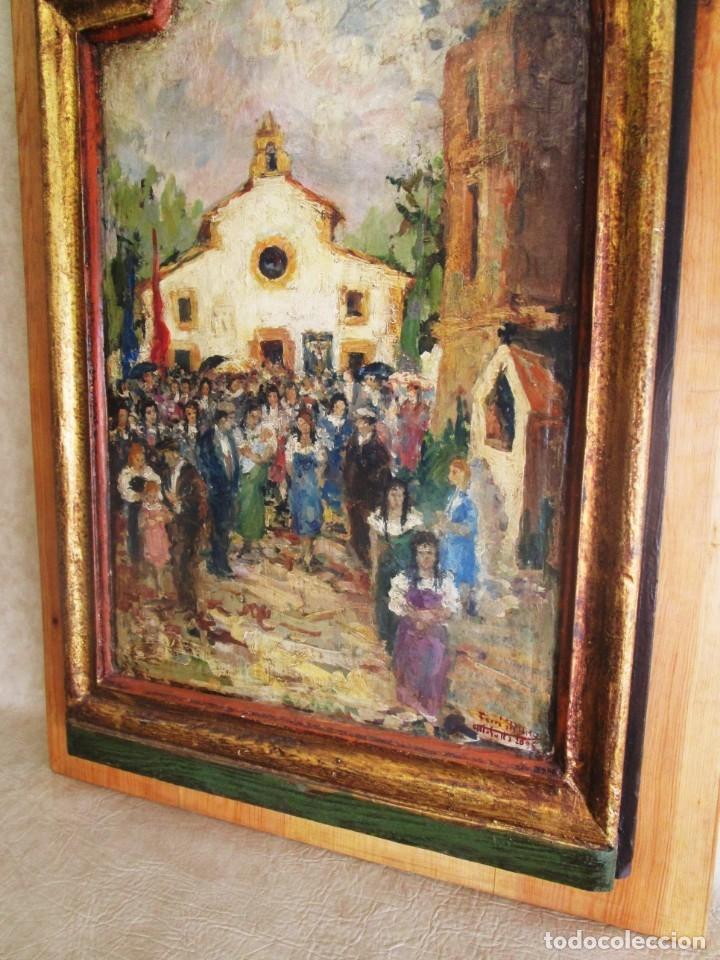 Arte: antiguo retablo con oleo de ferre i andreu año 2005 altafulla ermita sant antoni - Foto 4 - 35171291