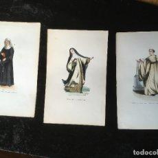 Arte: 1851 - 3 GRABADOS COLOR - RELIGIOSA SERVITA - RELIGIOSA MARONITA BENEDICTINO MONTE OLIVET - TRAJES. Lote 161575650