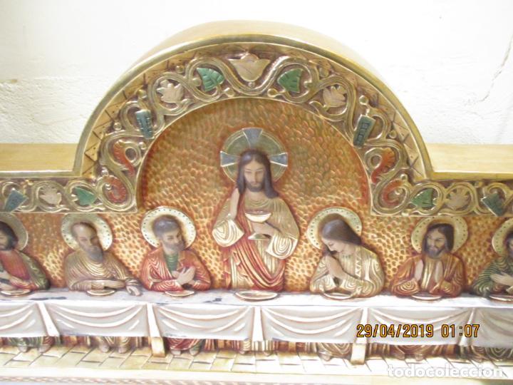 Arte: SANTA CENA FIRMADA JM CAMPS ARNAU DE MADERA 123X41 - Foto 9 - 161639142