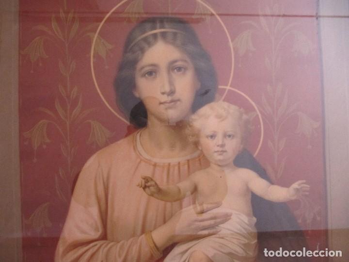 Arte: Gran Antigua Lamina Pintura virgen con niño enmarcada cristal 109x 82cm - Foto 2 - 161659338