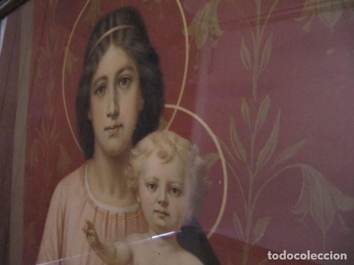 Arte: Gran Antigua Lamina Pintura virgen con niño enmarcada cristal 109x 82cm - Foto 7 - 161659338