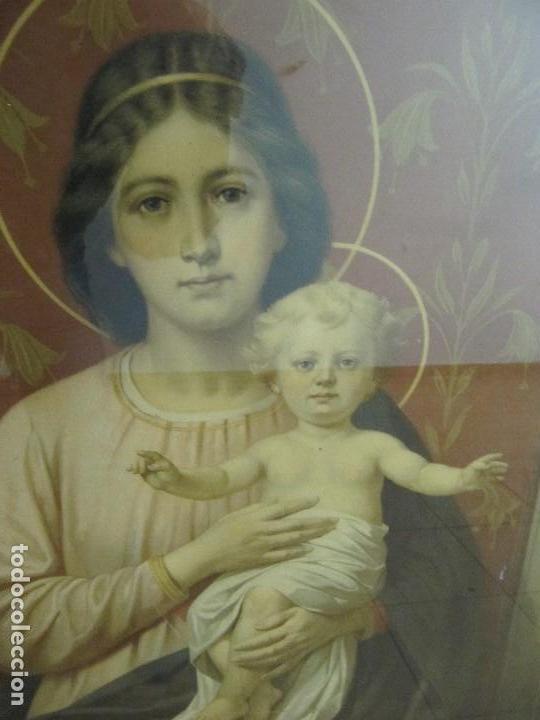 Arte: Gran Antigua Lamina Pintura virgen con niño enmarcada cristal 109x 82cm - Foto 8 - 161659338