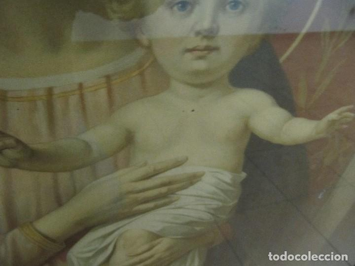 Arte: Gran Antigua Lamina Pintura virgen con niño enmarcada cristal 109x 82cm - Foto 9 - 161659338