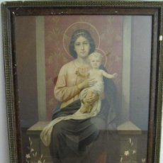 Arte: GRAN ANTIGUA LAMINA PINTURA VIRGEN CON NIÑO ENMARCADA CRISTAL 109X 82CM. Lote 161659338