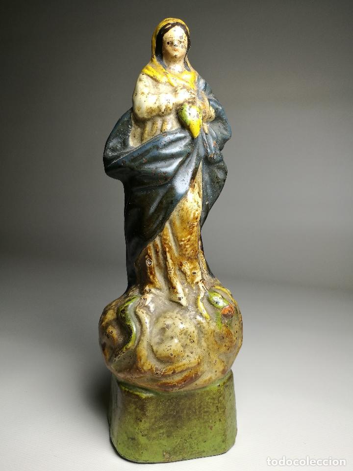 IMAGEN ESCULTURA EN TERRACOTA POLICROMADA VIRGEN INMACULADA CONCEPCION SIGLO XVIII-XIX (Arte - Arte Religioso - Escultura)