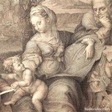 Arte: LA SAGRADA FAMILIA. LA PERLA. GIULIO ROMANO. GRABADO. CARATTONI. ESPAÑA. SIGLO XVIII. Lote 161758730
