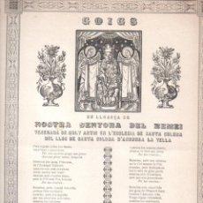 Arte: GOIGS EN LLOANÇA DE NOSTRA SENYORA DEL REMEI - ANDORRA LA VELLA (ANGLADA, VIC, 1935). Lote 161799278