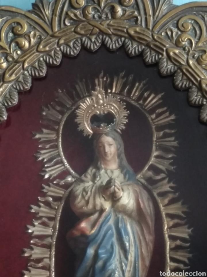 Arte: Inmaculada en madera tallada policromada - Foto 2 - 161893014