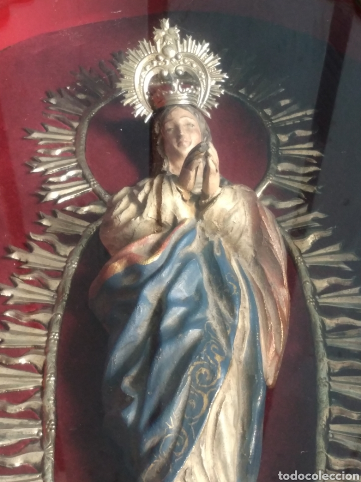 Arte: Inmaculada en madera tallada policromada - Foto 8 - 161893014