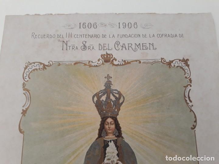 Arte: Nuestra Señora del Carmen Valencia III Centenario 1606 1906 litografía Durá Original Cofradía - Foto 2 - 161911030