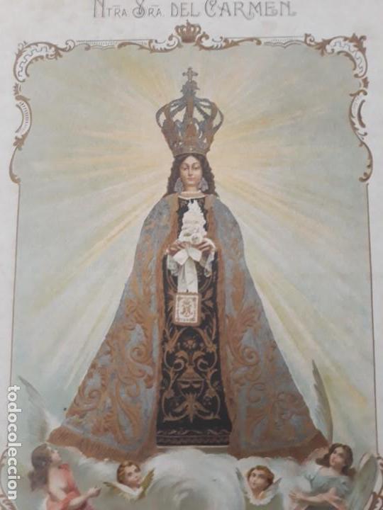 Arte: Nuestra Señora del Carmen Valencia III Centenario 1606 1906 litografía Durá Original Cofradía - Foto 3 - 161911030